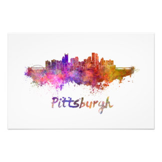 Pittsburgh skyline in watercolor photograph