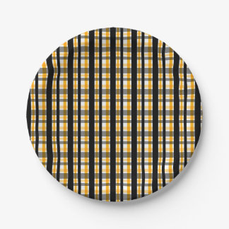 Pittsburgh Sports Fan Black Yellow Gold Plaid Paper Plate