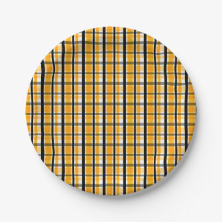 Pittsburgh Sports Fan Yellow Gold Black Plaid Paper Plate