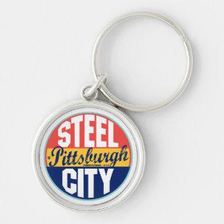 Pittsburgh Vintage Label Key Ring
