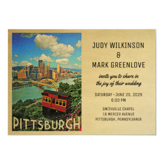 Pittsburgh Wedding Invitation Vintage Mid-Century