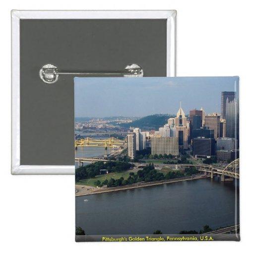 Pittsburgh's Golden Triangle, Pennsylvania, U.S.A. 15 Cm Square Badge
