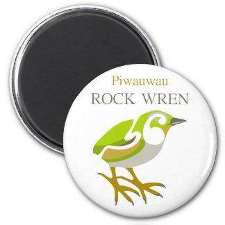 PIWAUWAU , New Zealand Bird, Rock Wren 6 Cm Round Magnet