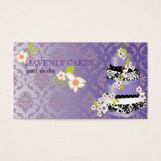 PixDezine damask+lilac cake bakery/pâtisserie Business Card