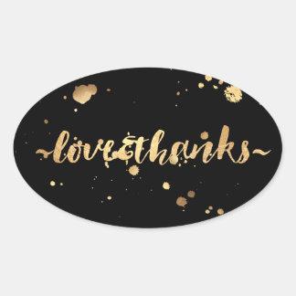 PixDezine dazzled faux gold/love/thanks Oval Sticker