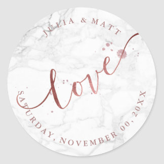 PixDezine Love Marble/Faux Rose Gold Classic Round Sticker