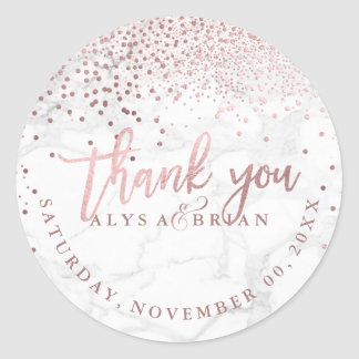 PixDezine Marble/Faux Rose Gold Confetti Thank You Classic Round Sticker