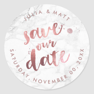 PixDezine Marble Save the Date/Faux Rose Gold Classic Round Sticker