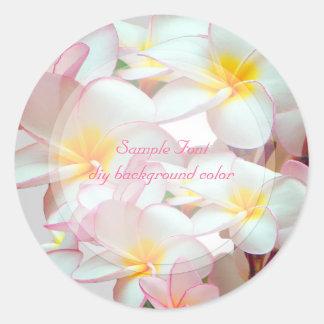 PixDezine pink plumeria/DIY background color Classic Round Sticker