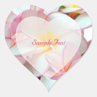 PixDezine pink plumeria/DIY background color Heart Sticker