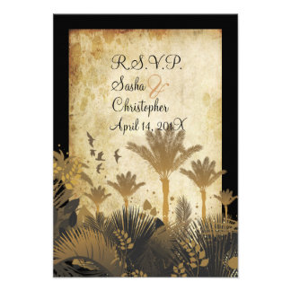 PixDezine rsvp vintage palms Personalized Invite