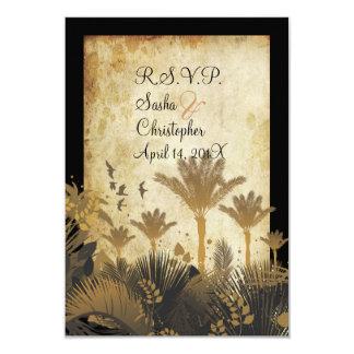 "PixDezine rsvp vintage palms 3.5"" X 5"" Invitation Card"