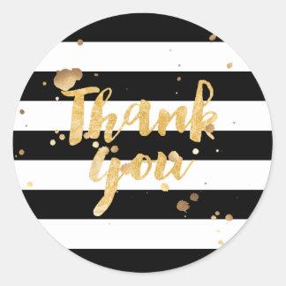 PixDezine stripes/thank you/diy background Classic Round Sticker