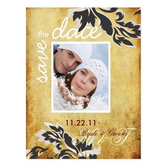 PixDezine Vintage Pearl Damask 12 Save Date Postcard