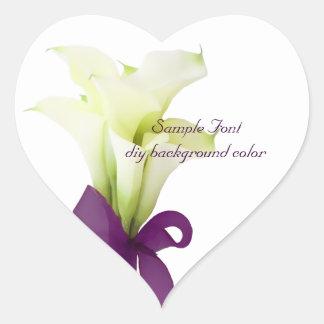 PixDezine white calla lily/DIY background color Heart Stickers