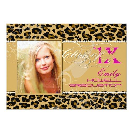 PixDezines 2012 Grads, cheetah print/diy colours 13 Cm X 18 Cm Invitation Card