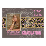 PixDezines 2012 Graduation/cheetah, neon pink Custom Announcement