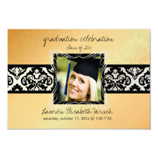 "PixDezines 2012 graduation/Damask/gold tone 3.5"" X 5"" Invitation Card"