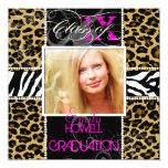 PixDezines 2013 Grads, cheetah+zebra/diy colours 13 Cm X 13 Cm Square Invitation Card