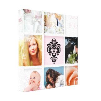 PixDezines 9-Photo On Canvas, White Frame Template Canvas Print
