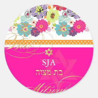 PixDezines Alegre, retro floral/Bat Mitzvah Classic Round Sticker