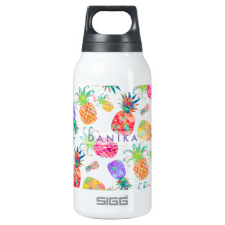 PixDezines Aloha Pineapple+Floral Watercolor Insulated Water Bottle