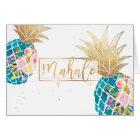 PixDezines Aloha Pineapples/Aqua/Mahalo Card