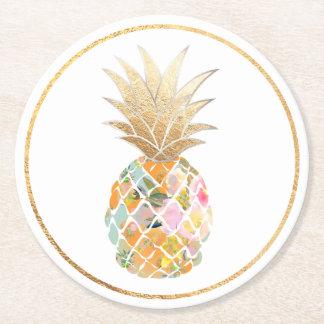 PixDezines Aloha Pineapples/DIY background Round Paper Coaster