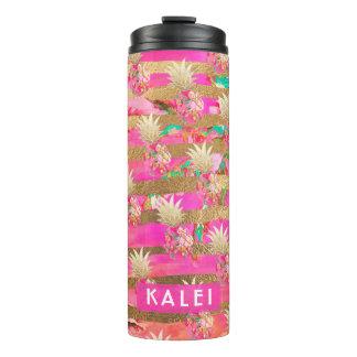 PixDezines Aloha Pineapples/Hot Pink+Faux GOld Thermal Tumbler