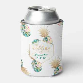 PixDezines Aloha Pineapples Pattern/Dark Teal Can Cooler