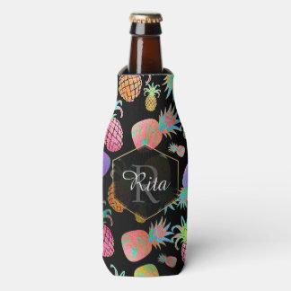 PixDezines Aloha Pineapples Pattern/DIY background Bottle Cooler