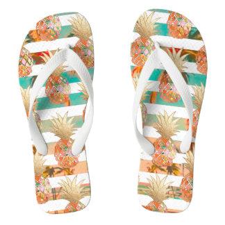 PixDezines Aloha Pineapples+Stripes Flip Flops