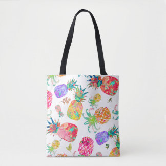 PixDezines Aloha Pineapples Watercolor Tote Bag