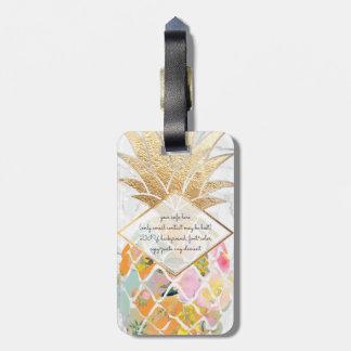 PixDezines Aloha Pineapples+White Marble Bag Tag