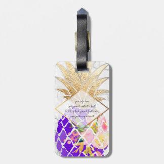 PixDezines Aloha Pineapples+White Marble Luggage Tag