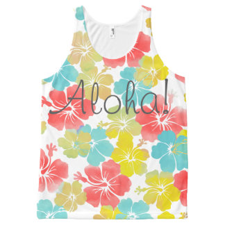 PixDezines aloha retro/hibiscus/orange/yellow/aqua All-Over Print Tank Top
