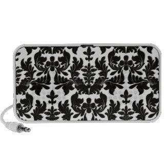 PixDezines Baroque Damask black+white Notebook Speakers