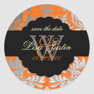 PixDezines Baroque Damask/Faux Silver+Orange Classic Round Sticker