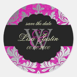 PixDezines Baroque Damask/Faux Silver+Pink/Magenta Classic Round Sticker