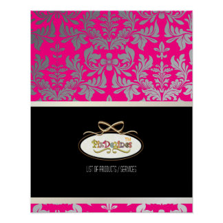 PixDezines Baroque Damask, Hot Pink Poster