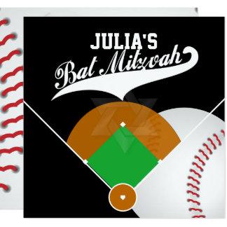 PixDezines Baseball Diamond/Bat Mitzvah Custom In 13 Cm X 13 Cm Square Invitation Card