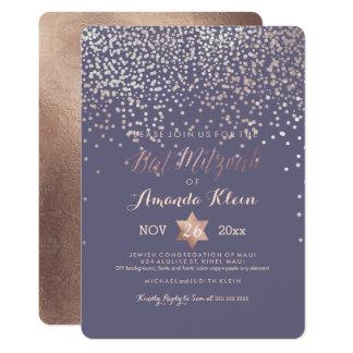 PixDezines Bat Mitzvah/Rose Gold/Confetti 13 Cm X 18 Cm Invitation Card