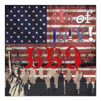 "PixDezines BBQ, July 4th invites 5.25"" Square Invitation Card"