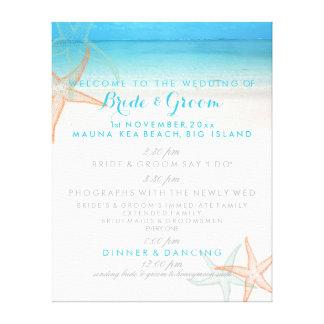 PixDezines beach wedding program Stretched Canvas Prints