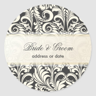 PixDezines Bellissimo Damask/diy color Round Stickers