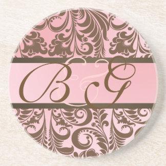 PixDezines Bellissimo Damask, Monogram Wedding Beverage Coaster