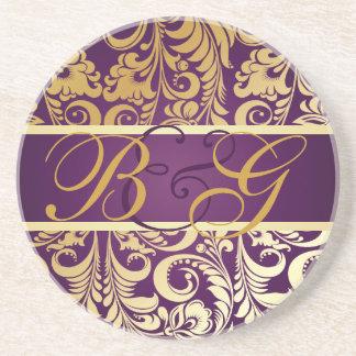 PixDezines Bellissimo Damask, Monogram Wedding Beverage Coasters