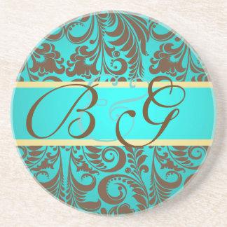 PixDezines Bellissimo Damask Monogram Wedding Coasters