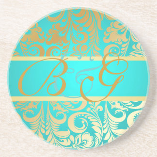 PixDezines Bellissimo Damask, Monogram Wedding Coaster