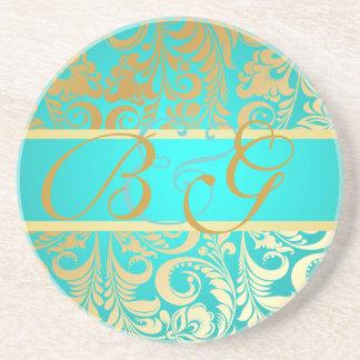 PixDezines Bellissimo Damask Monogram Wedding Coaster